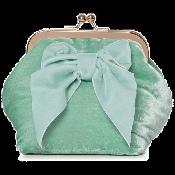 Velour kosmetikpung - Mint groen